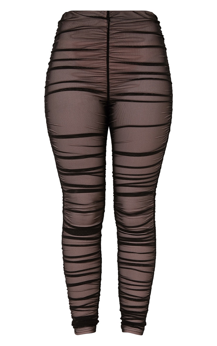 Piera Black Ruched Mesh Pants 4