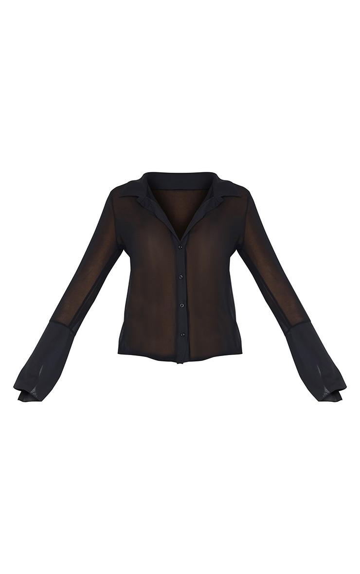 Black Sheer Chiffon Shirt 6