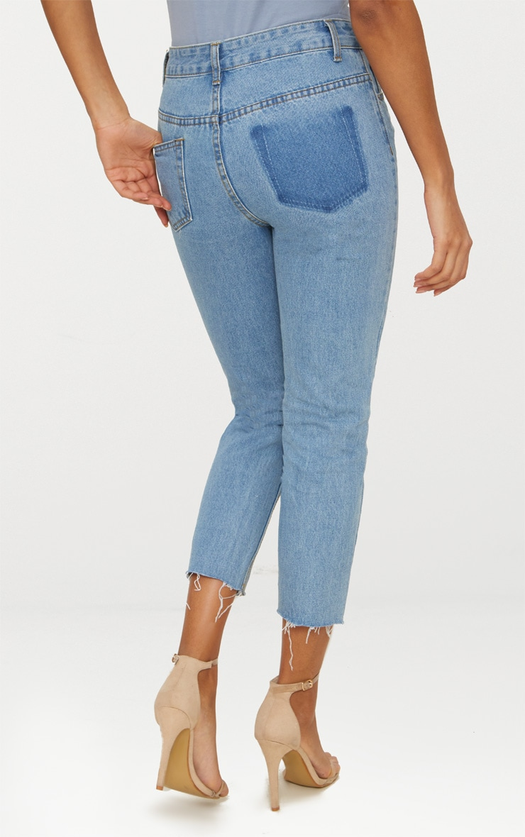Light Wash Open Knee Raw Hem Straight Leg Jean 3