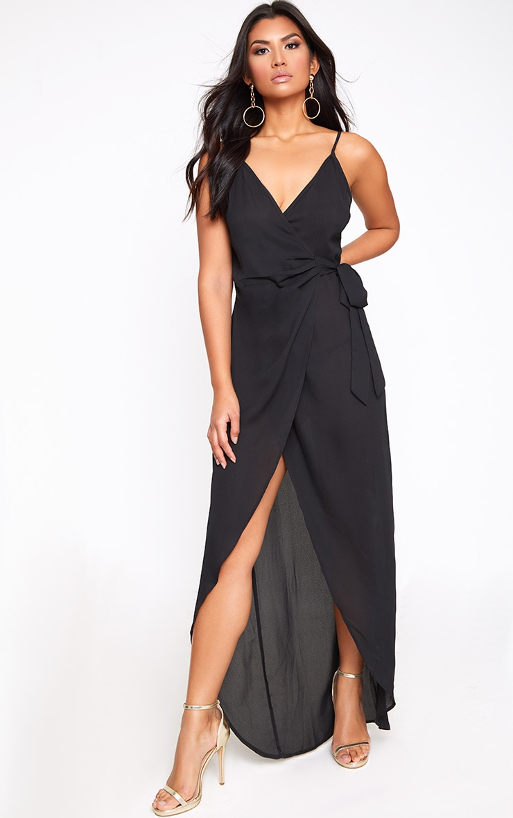 Black Strappy Wrap Over Maxi Dress 1