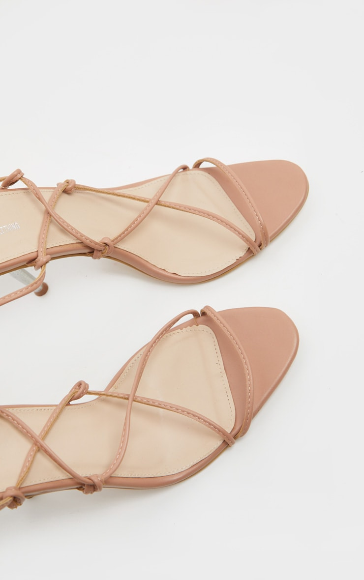 Nude Clear Mid Heel Strappy Ankle Tie Sandal 3