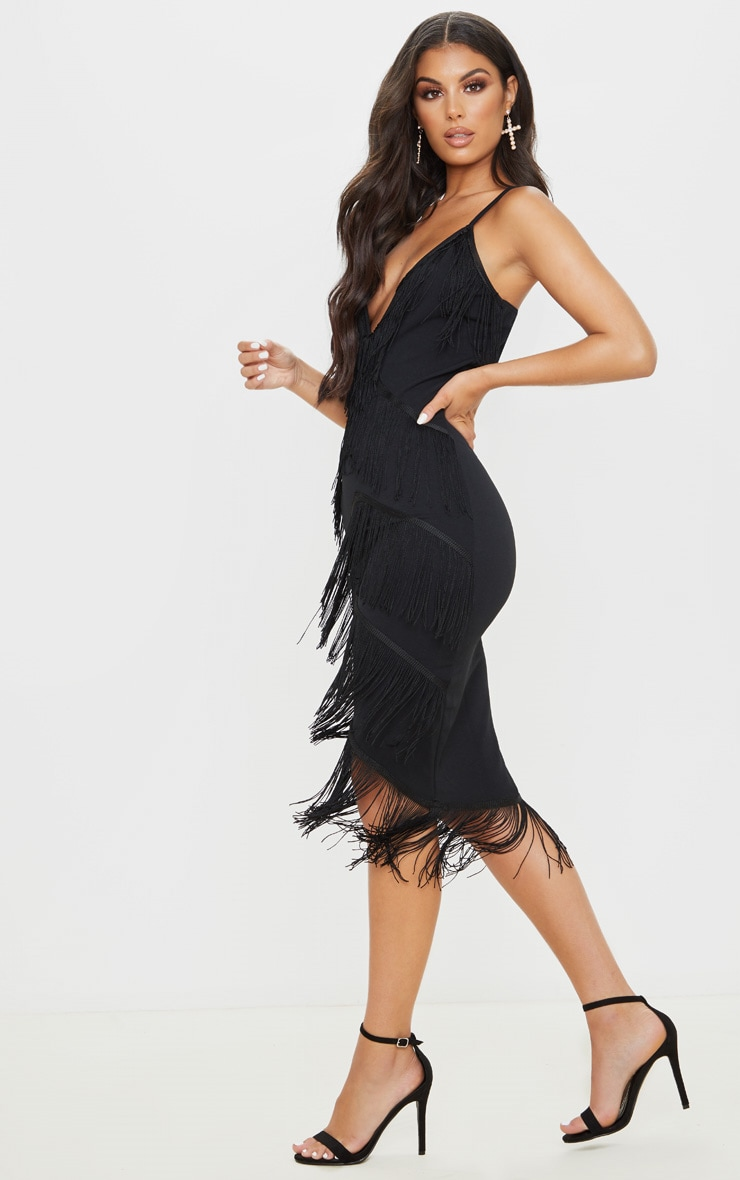 Black Strappy Tassel Longline Midi Dress 4