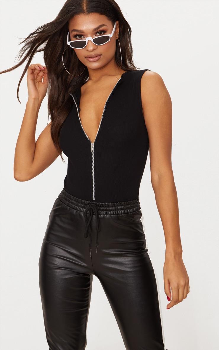 Black Rib Zip Front Thong Bodysuit  1