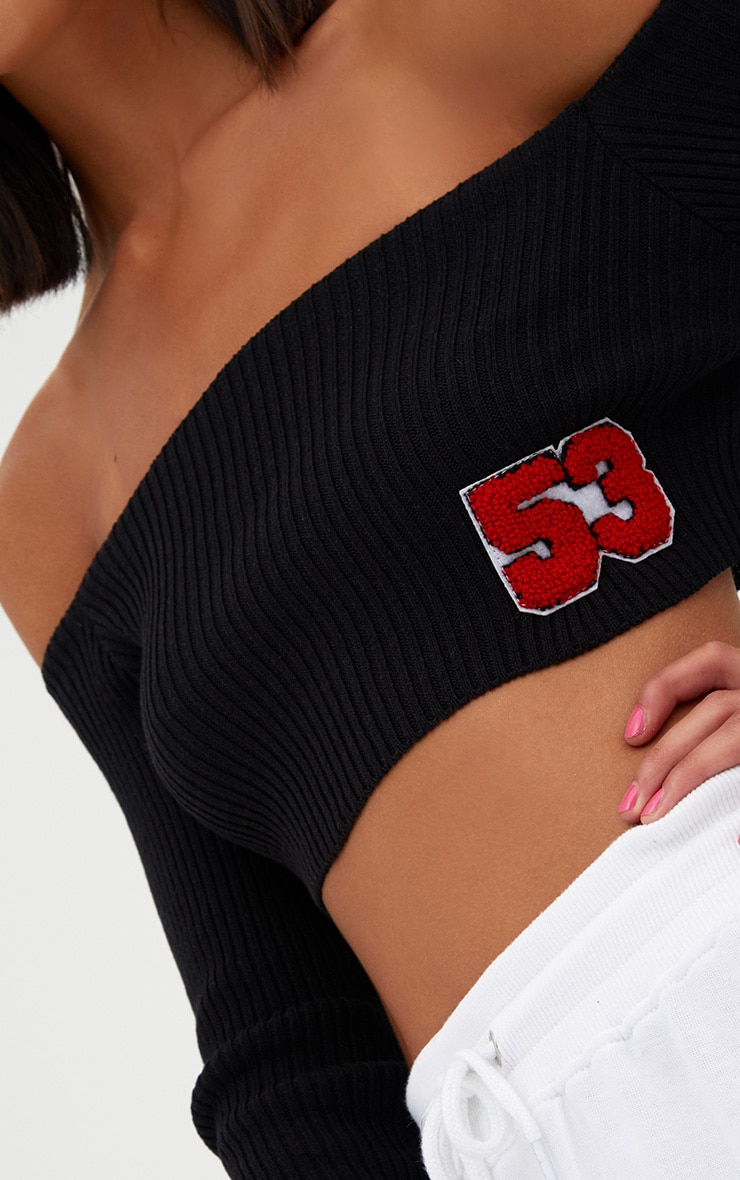 Black Badge Detail Cropped Knit Top 5