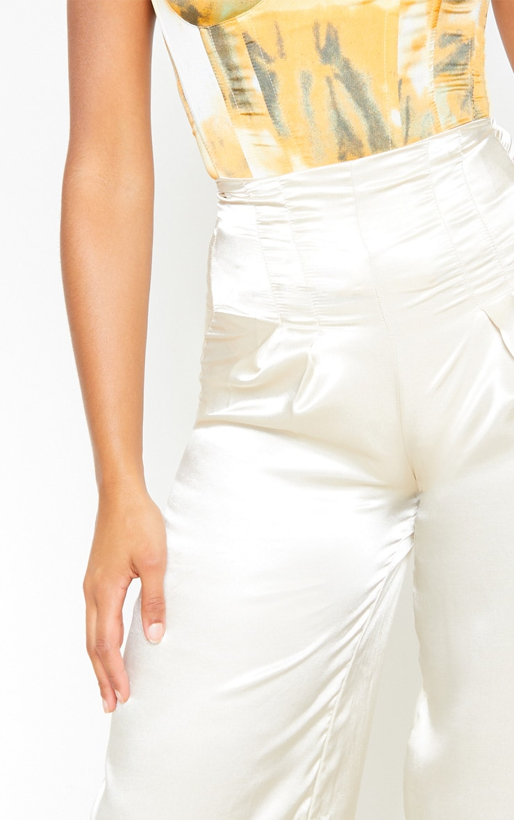 Champagne Satin Pleat Detail Wide Leg Pants 5