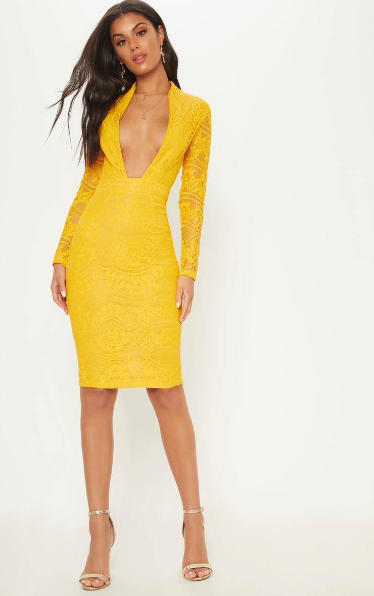 Yellow Lace Extreme Plunge Midi Dress by Prettylittlething