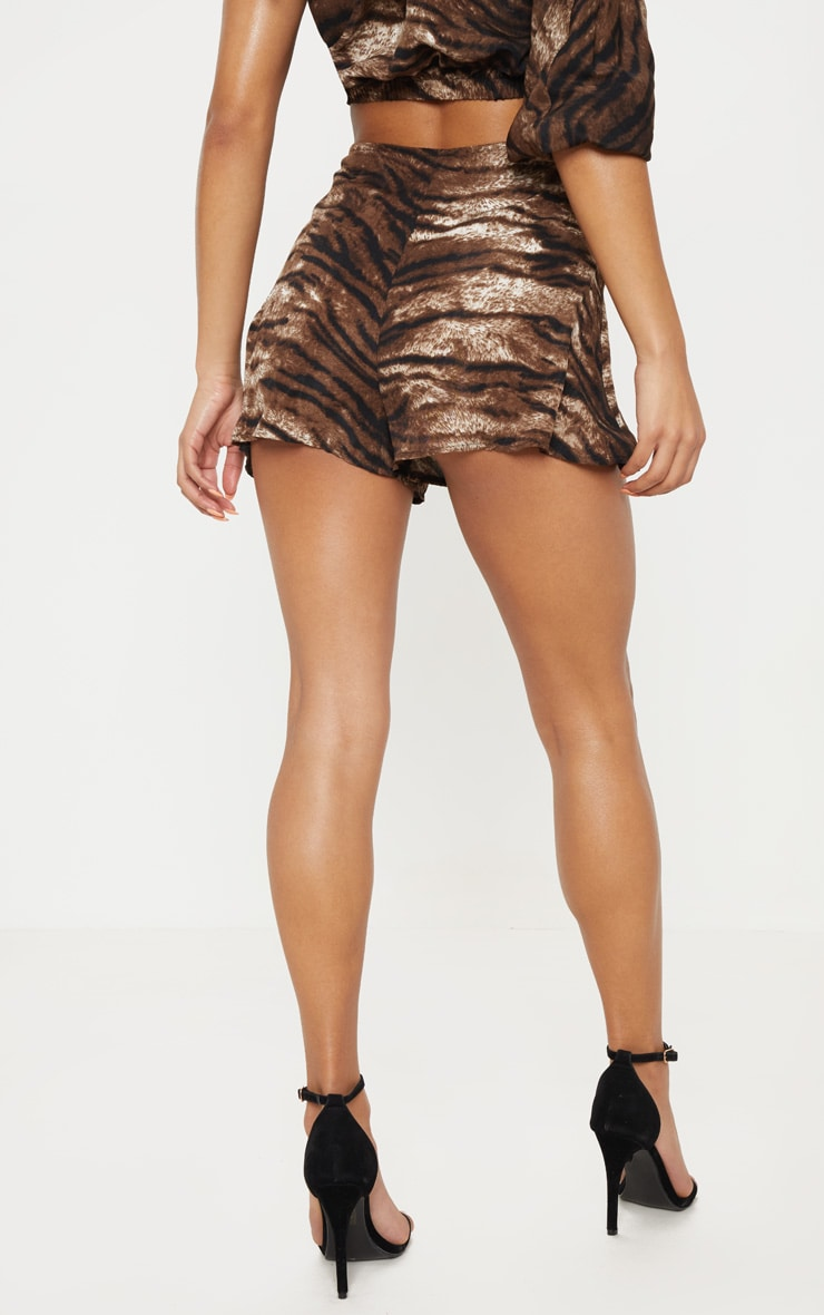Chocolate Tiger Print Floaty Shorts 4