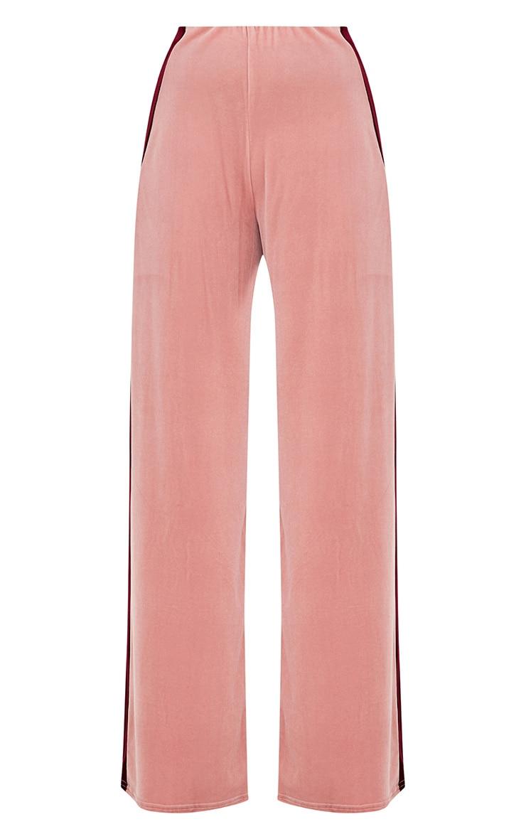 Pink Velvet Contrast Stripe Wide Leg Trousers 3