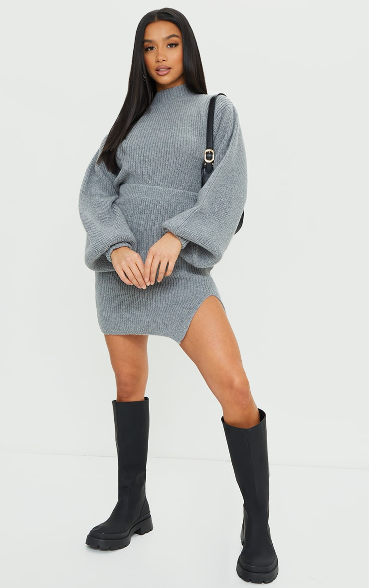 Petite Grey Knitted Split Bodycon Skirt 1