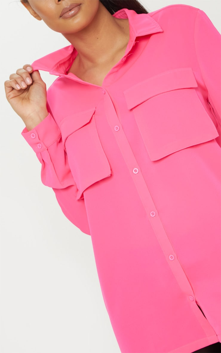 Hot Pink Oversized Chiffon Shirt 5