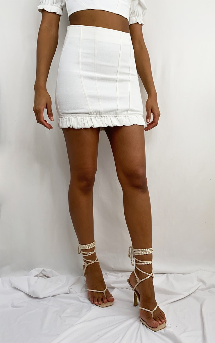 White Seam Detail Denim Mini Skirt 2