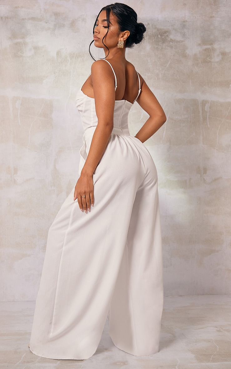 White Ruched Cup Strappy Wide Leg Jumpsuit 3