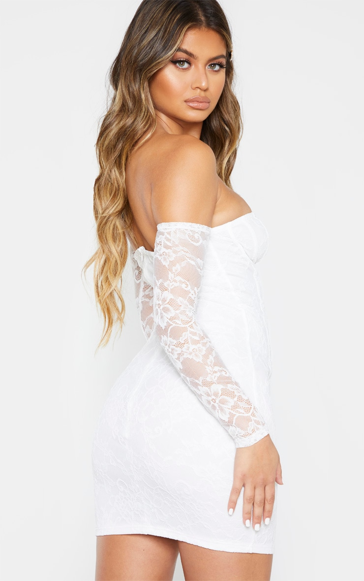 White Lace Cup Detail Bodycon Dress 2