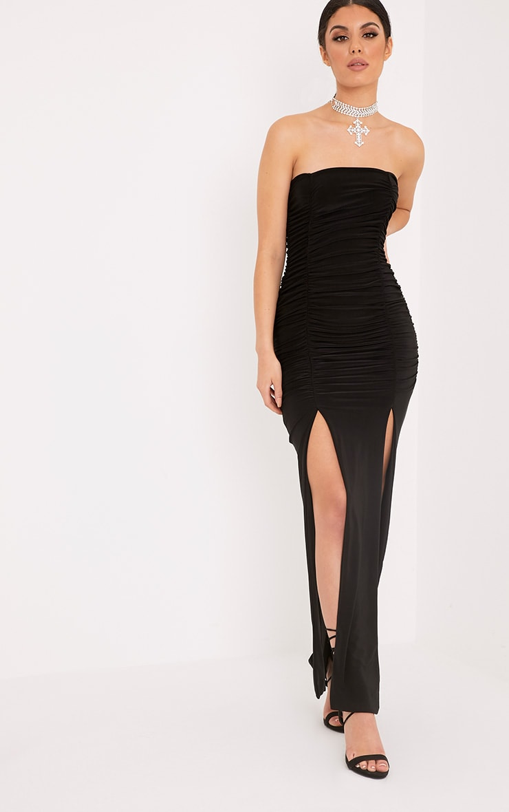Nia Black Ruched Detail Split Maxi Dress 1