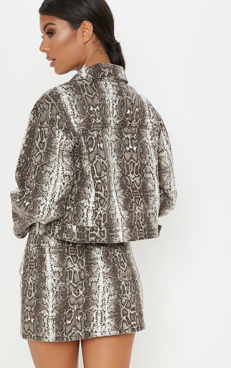Brown Snake Print Denim Jacket 2