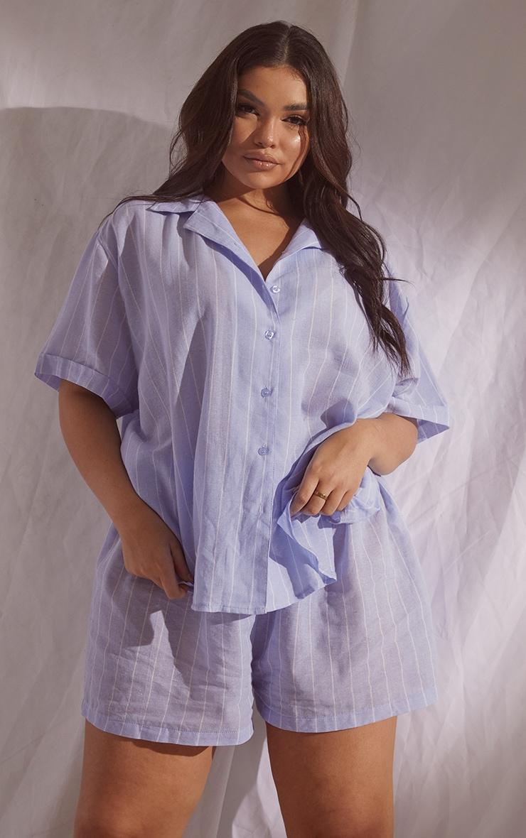 Plus Blue Wide Stripe Cotton Short Sleeve PJ Shirt 1
