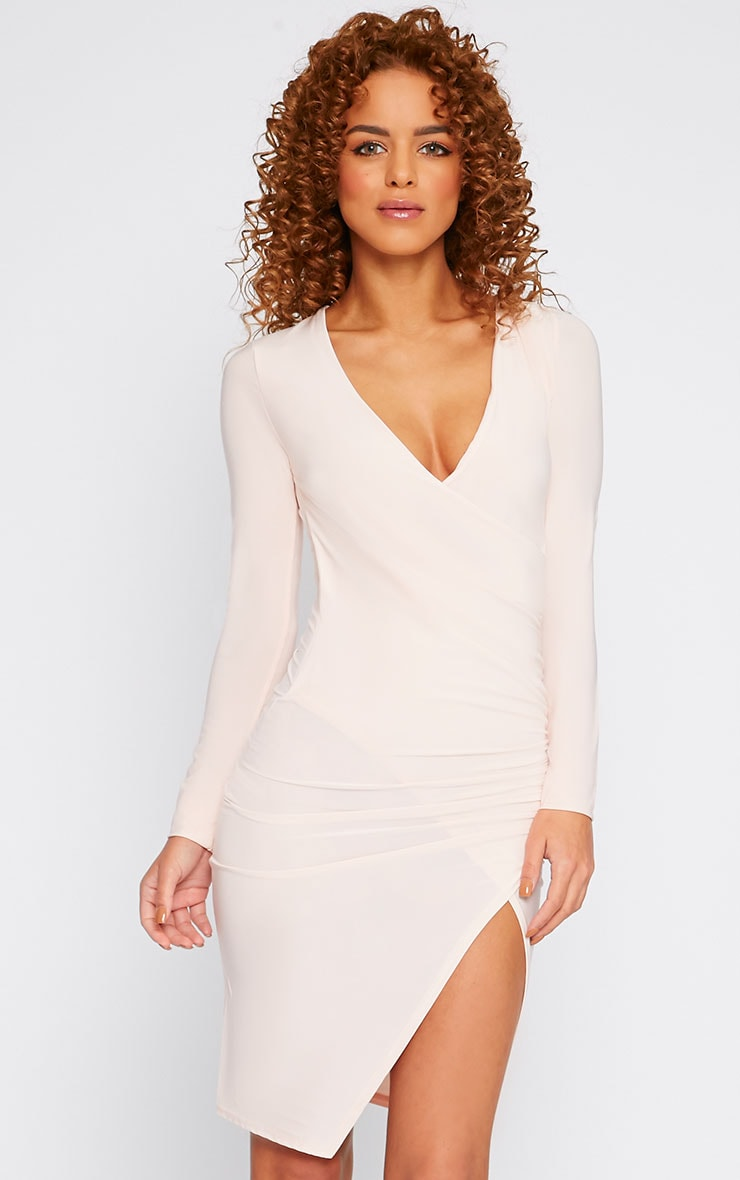 Iona Nude Slinky Wrap Over Gathered Mini Dress 5