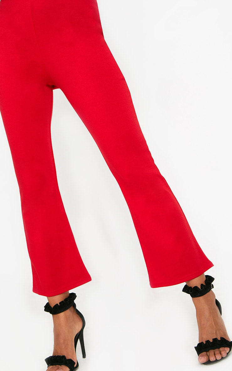 Red Kick Flare Cropped Trousers 5