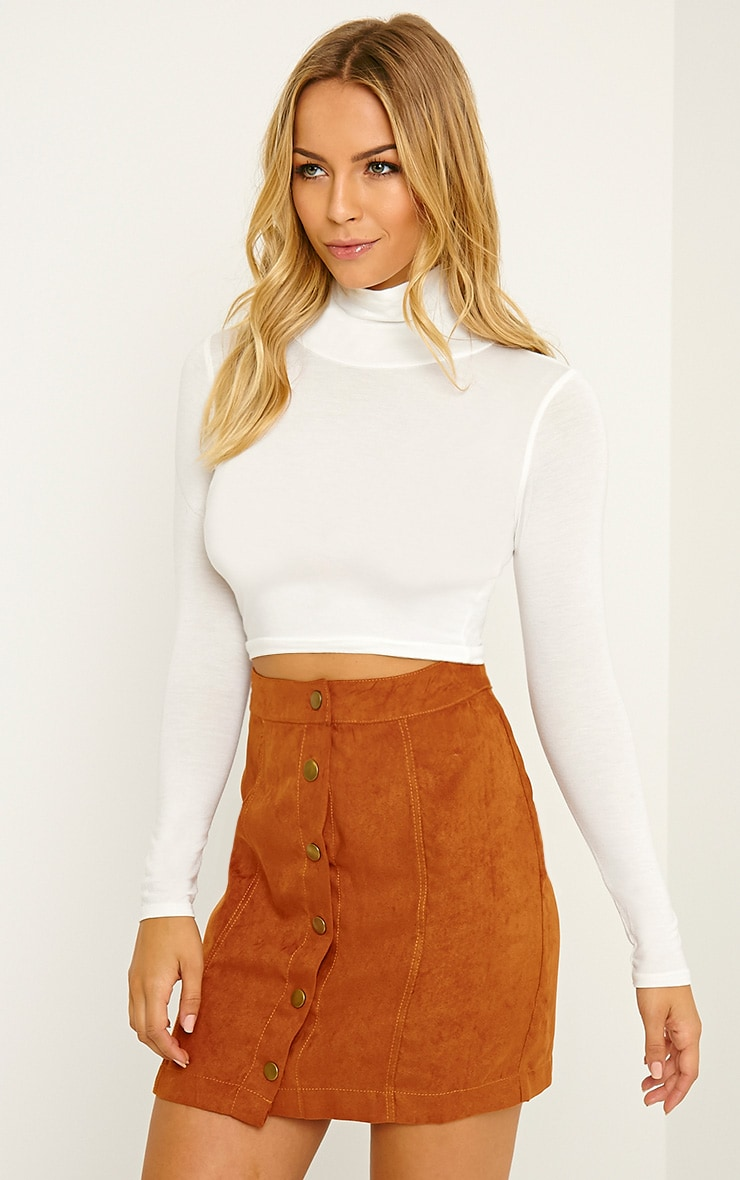 Basic Cream Roll Neck Crop Top 4