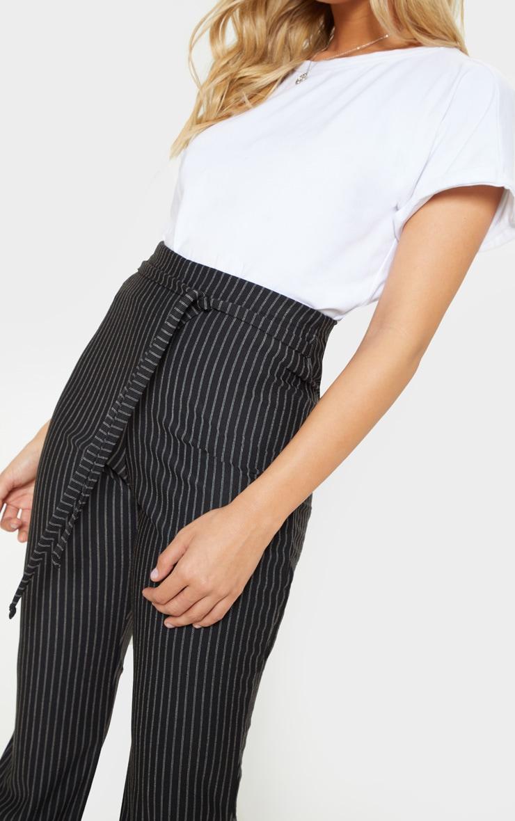 Black Pinstripe Tie Waist Flare Leg Pants 5