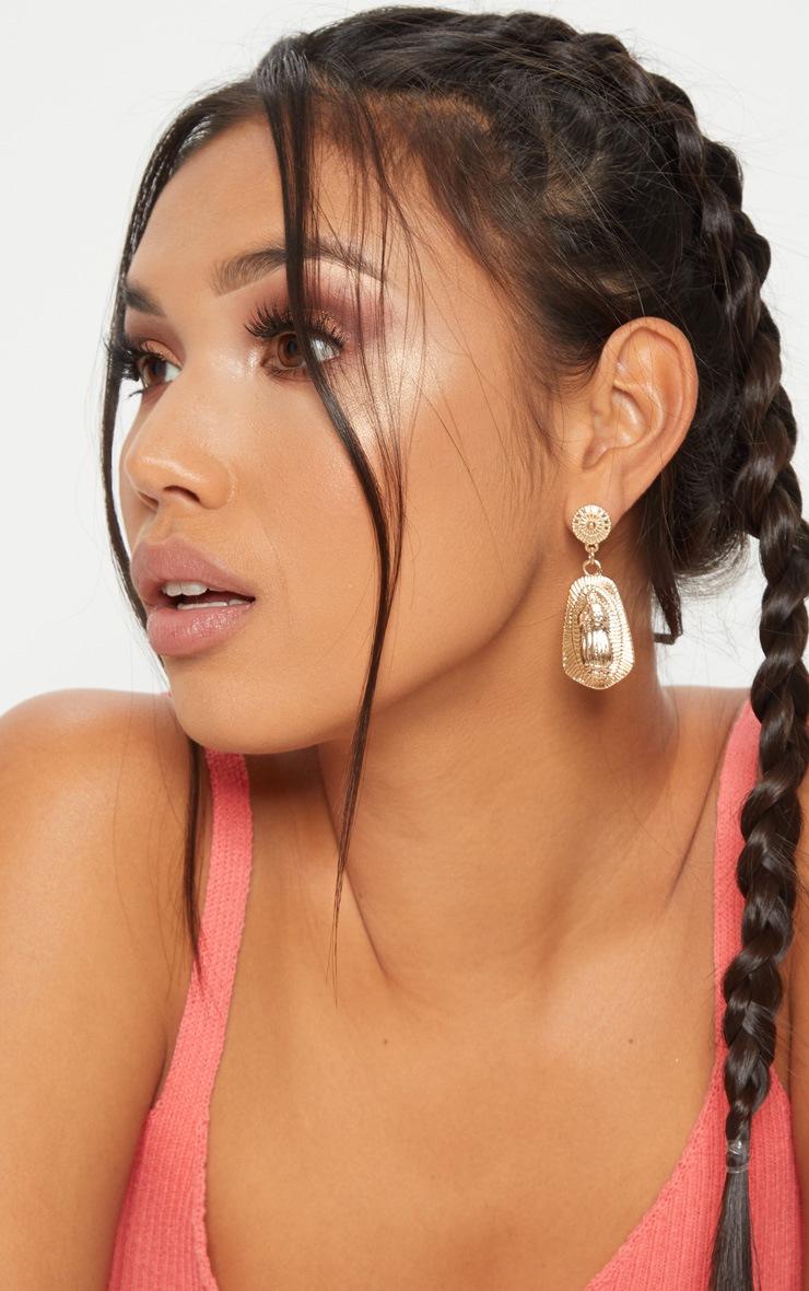 Gold Renaissance Pendant Drop Earrings 1