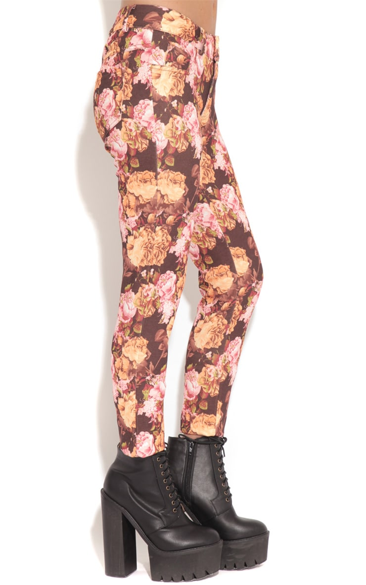Violet Brown & Beige Floral Print Trousers 3