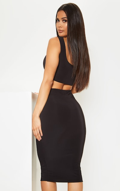 Black Slinky Round Neck Sleeveless Crop Top