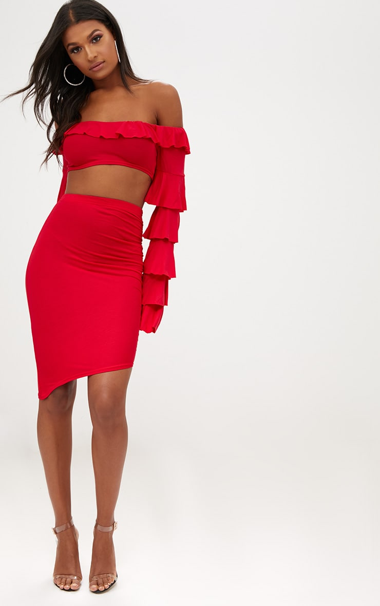 Red Ruched Side Asymmetric Midi Skirt  5
