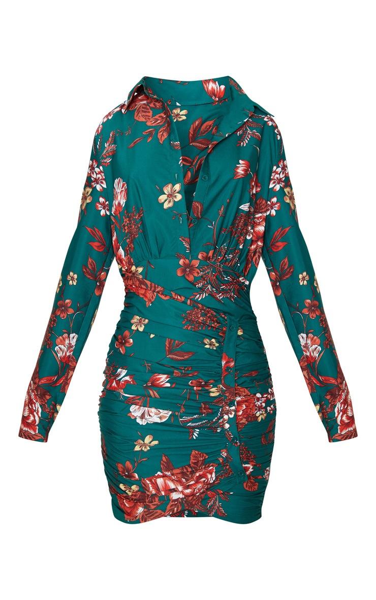 Emerald Green Floral Print Button Detail Ruched Drape Shirt Dress 3