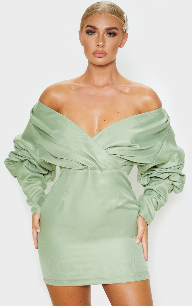 Sage Green Off The Shoulder Ruched Bodycon Dress 1