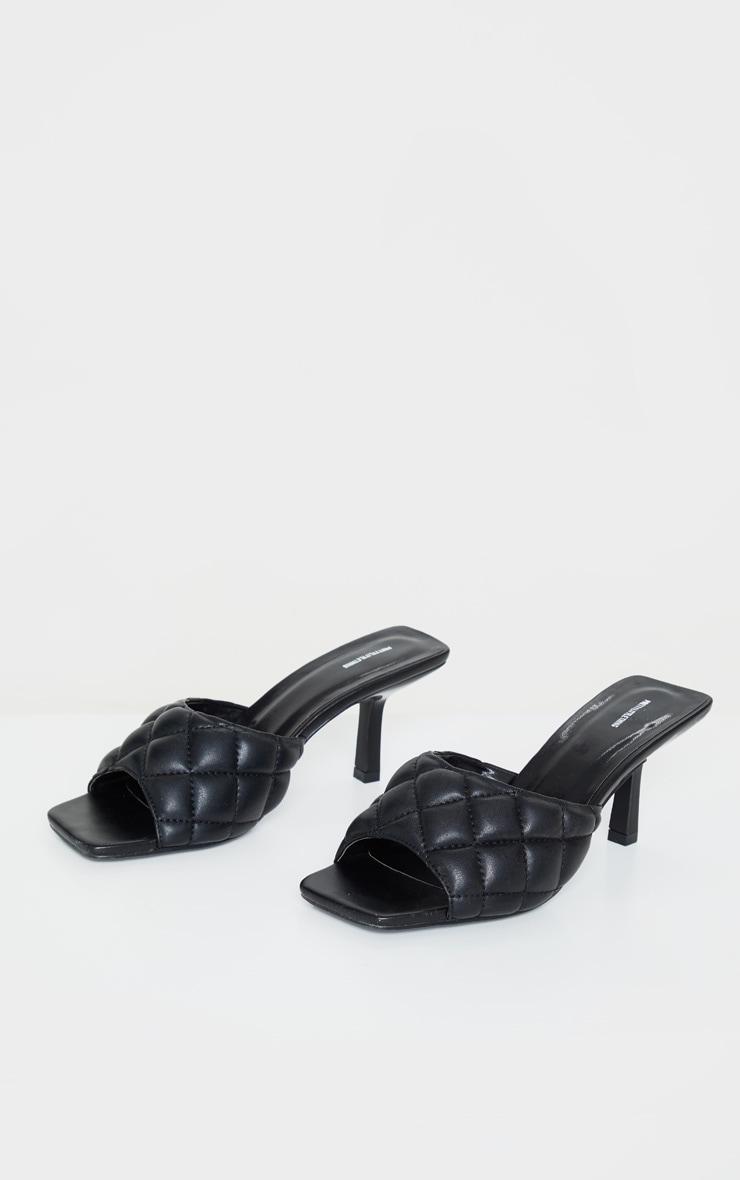 Black Quilted Mid Heel Mule 3