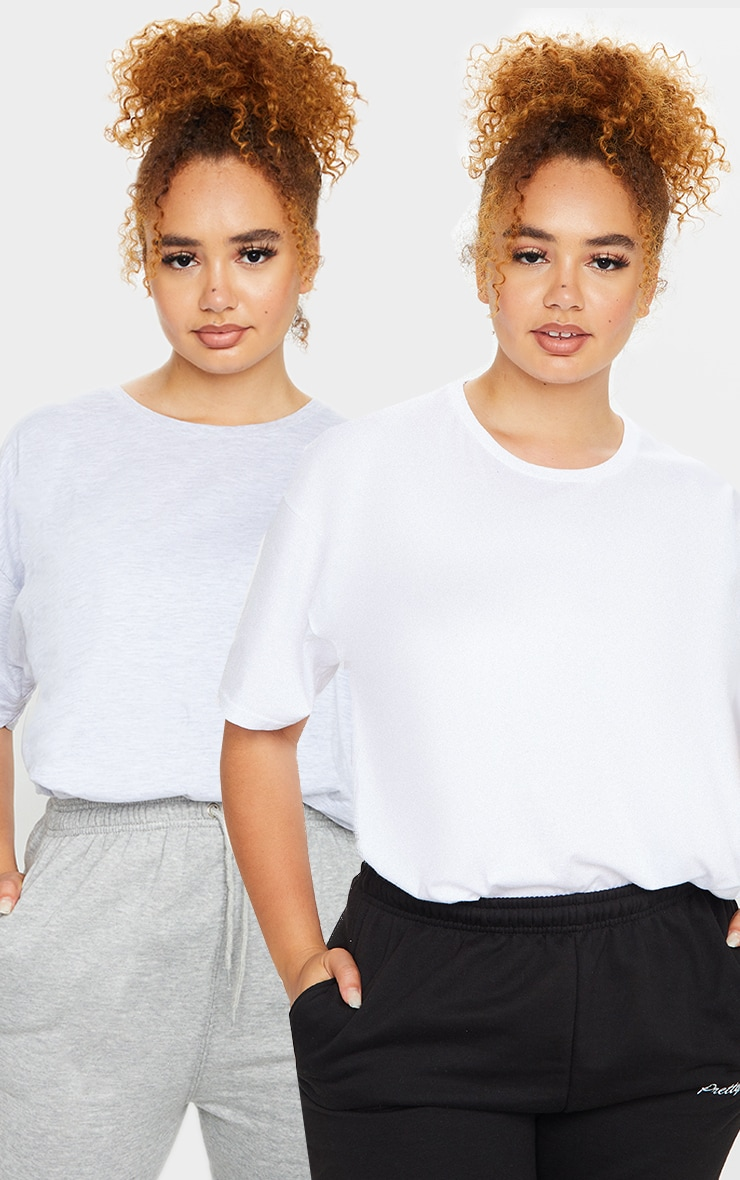 Plus Grey & White 2 Pack Ultimate Oversized T Shirt 1