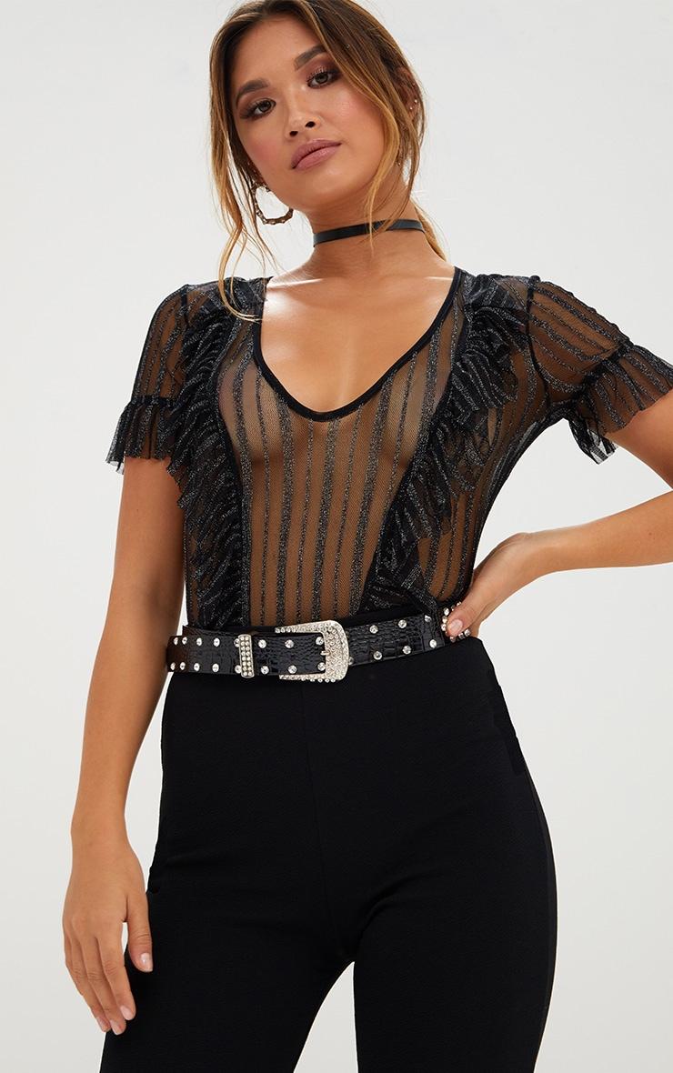 Black Sheer Metallic Stripe Ruffle Mesh Thong Bodysuit 1