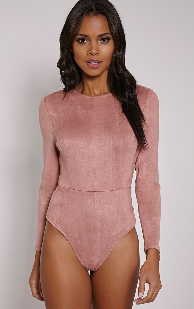 Rayna Rose Faux Suede Backless Buckle Bodysuit 4