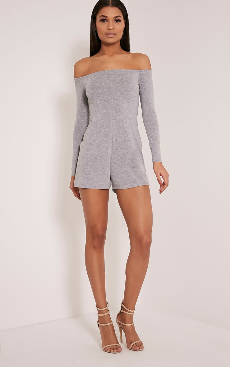 Basic Grey Bardot Jersey Playsuit 5