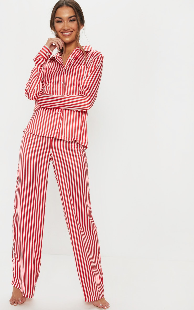 Red & White Stripe Wide Leg PJ Set 4
