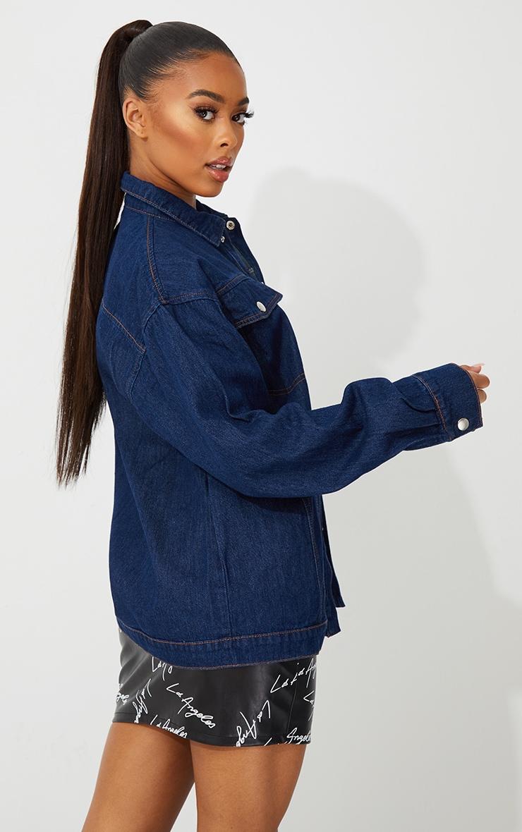 Dark Blue Wash Oversized Denim Jacket 2