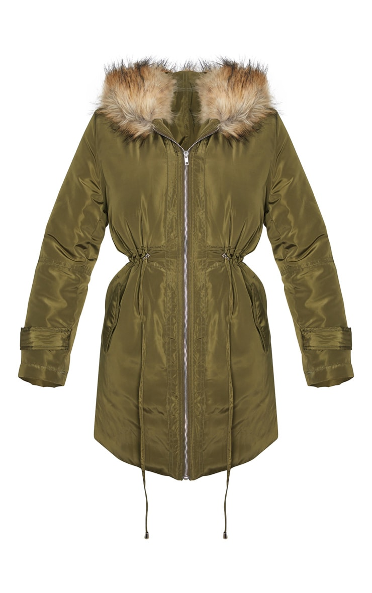 Khaki Faux Fur Trim Hood Parka Coat 3