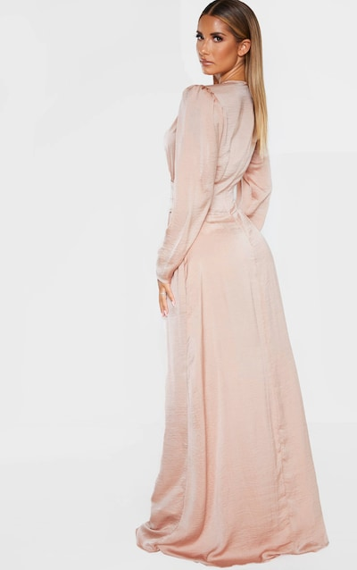 Nude Puff Sleeve Extreme Plunge Waist Detail Maxi Dress