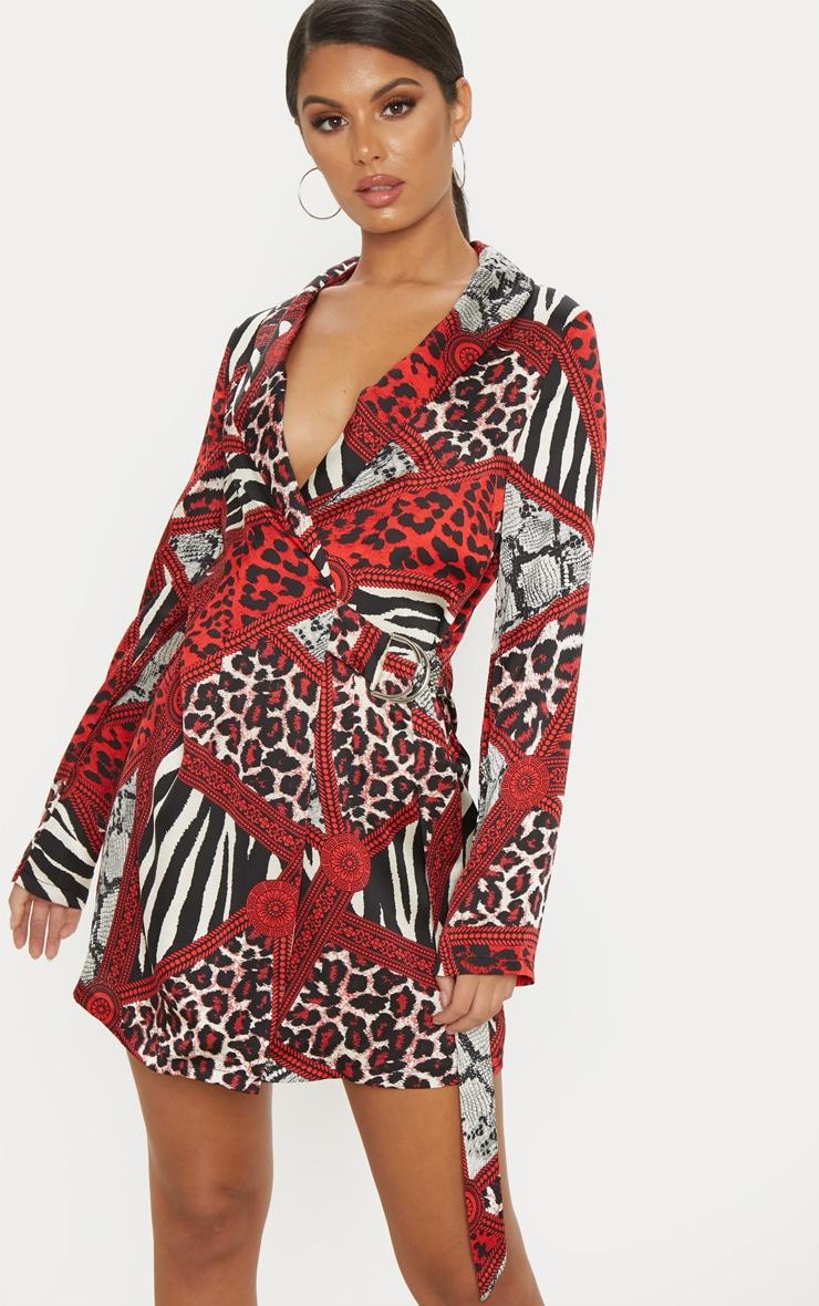 Red Satin Leopard Chain Print D Ring Blazer Dress 1