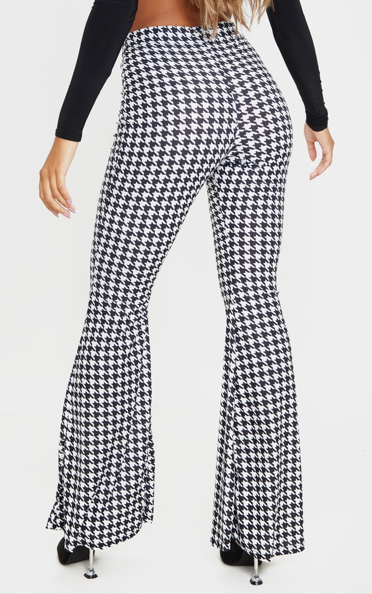 Black Dogtooth Flared Trousers 4
