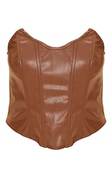 Chocolate Brown Faux Leather Pointed Cup Corset Top 5