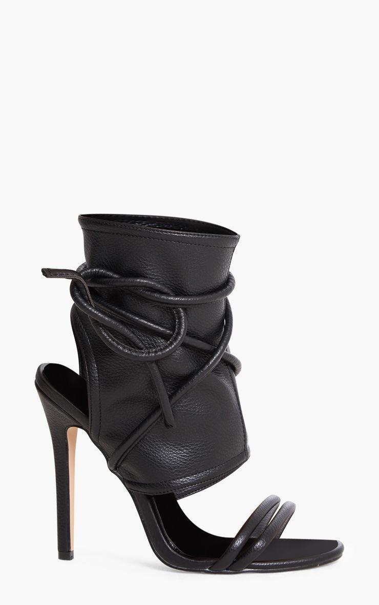 Elrica Black Tie Ankle Sock Heels 3