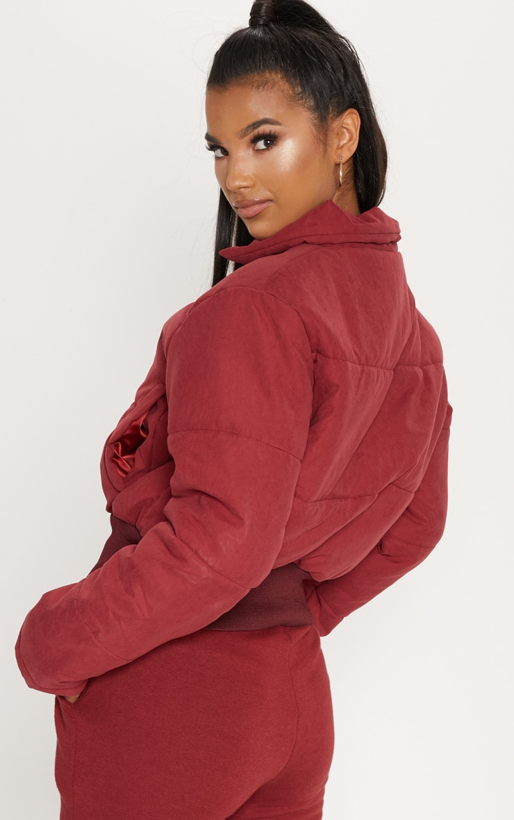 BURGUNDY Peach Skin Cropped Puffer Jacket 2
