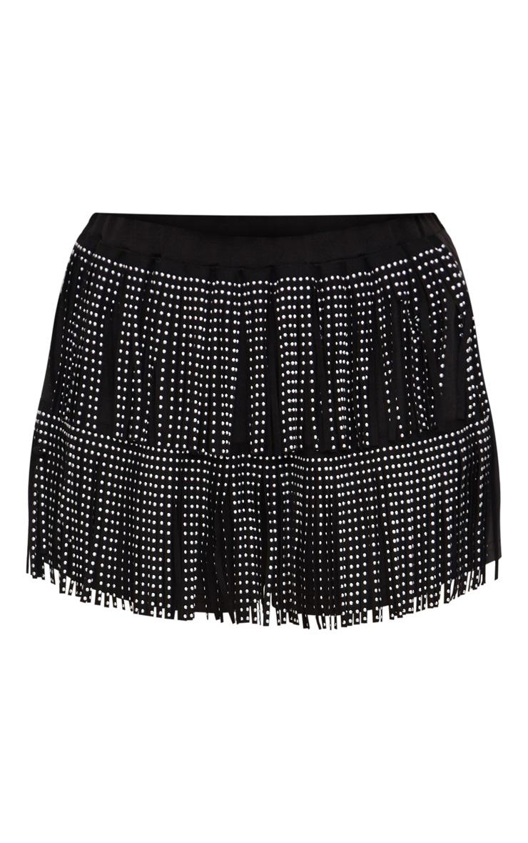 Black Metallic Tassel Detail Shorts 3