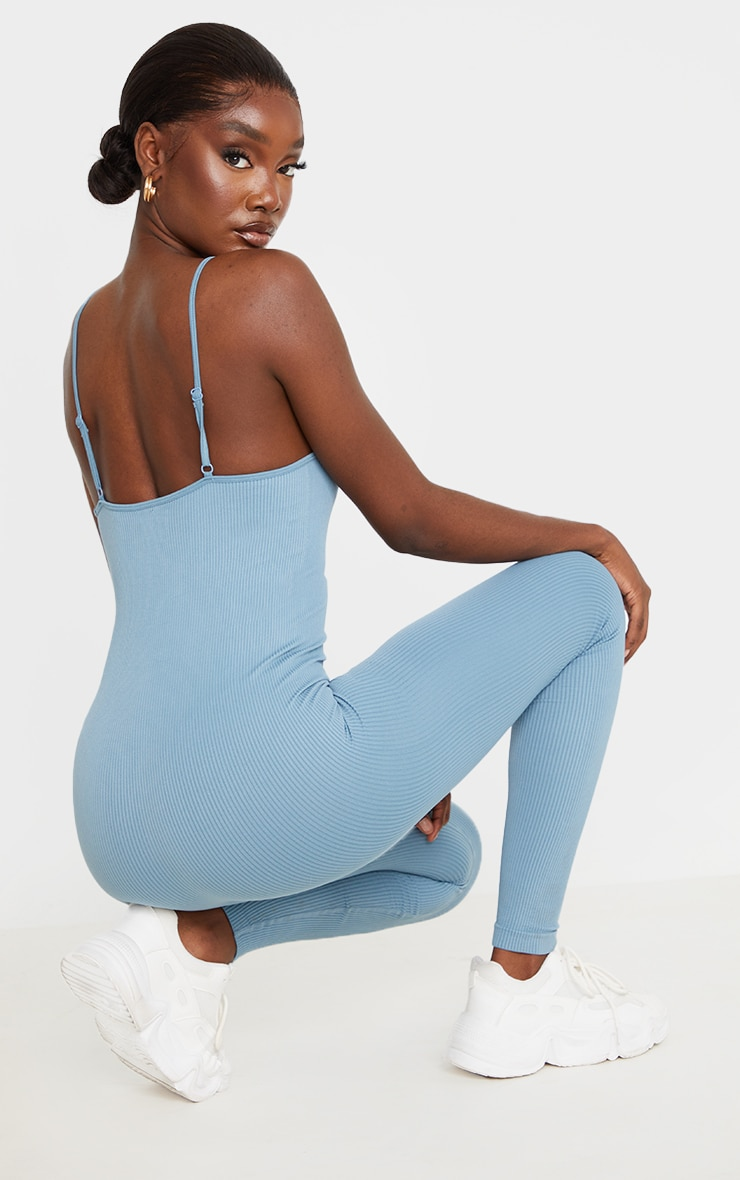Tall Blue Strappy Contour Ribbed Jumpsuit 2