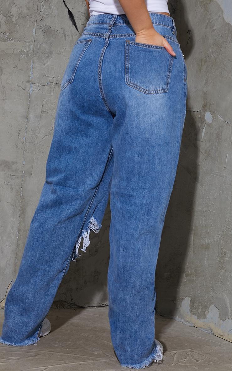 PRETTYLITTLETHING Plus Mid Blue Wash Extreme Distressed Hem Boyfriend Jeans 3