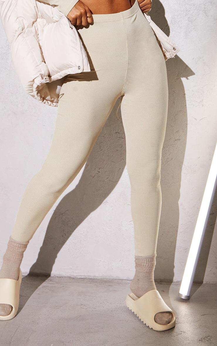 RENEW Beige Rib High Waisted Leggings 4
