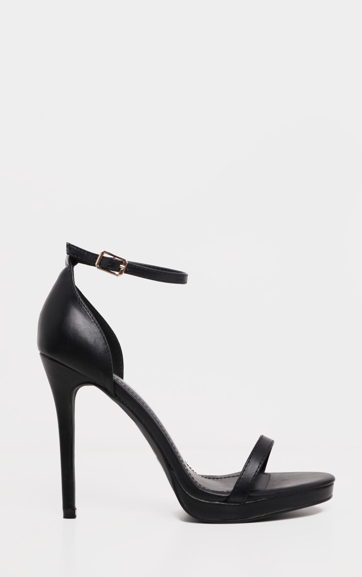 Enna Black Single Strap Heeled Sandals 4