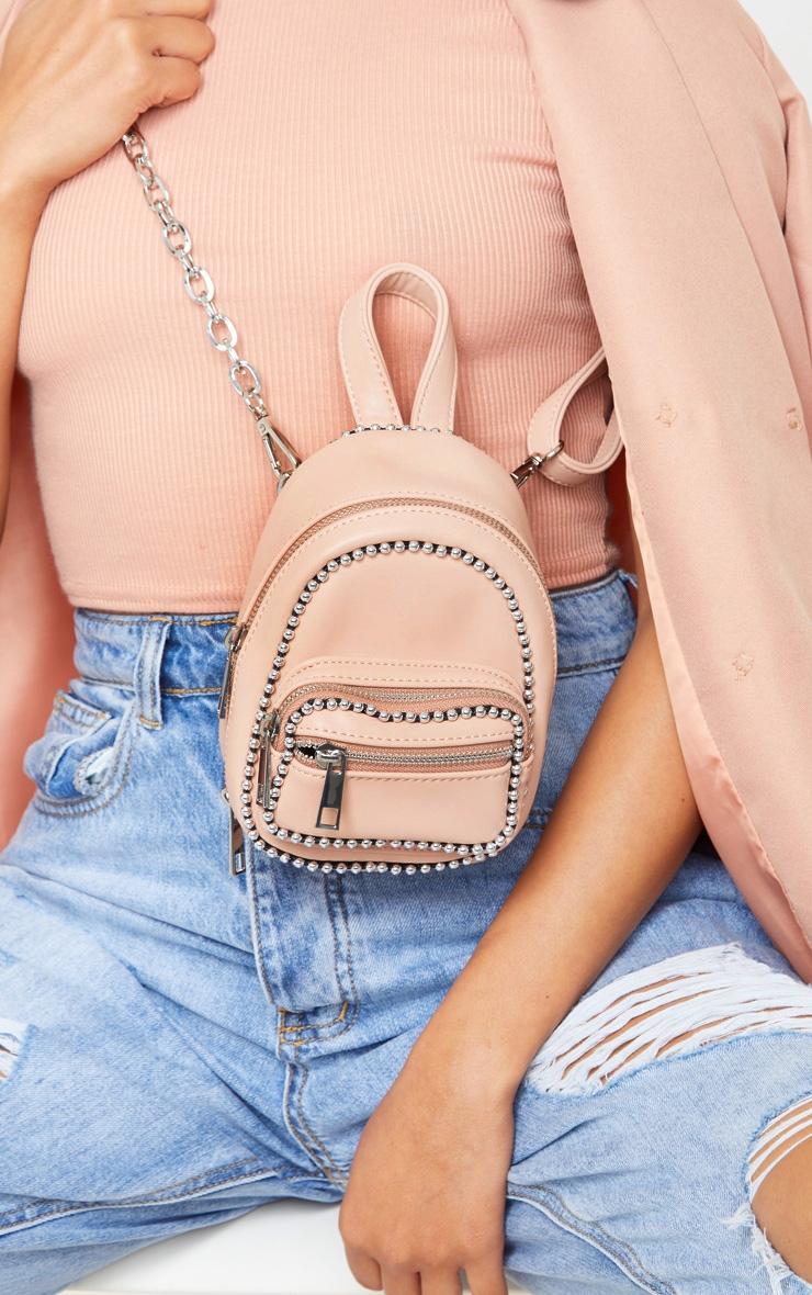 Mini sac à dos rose pâle à bordure chaîne ronde 1